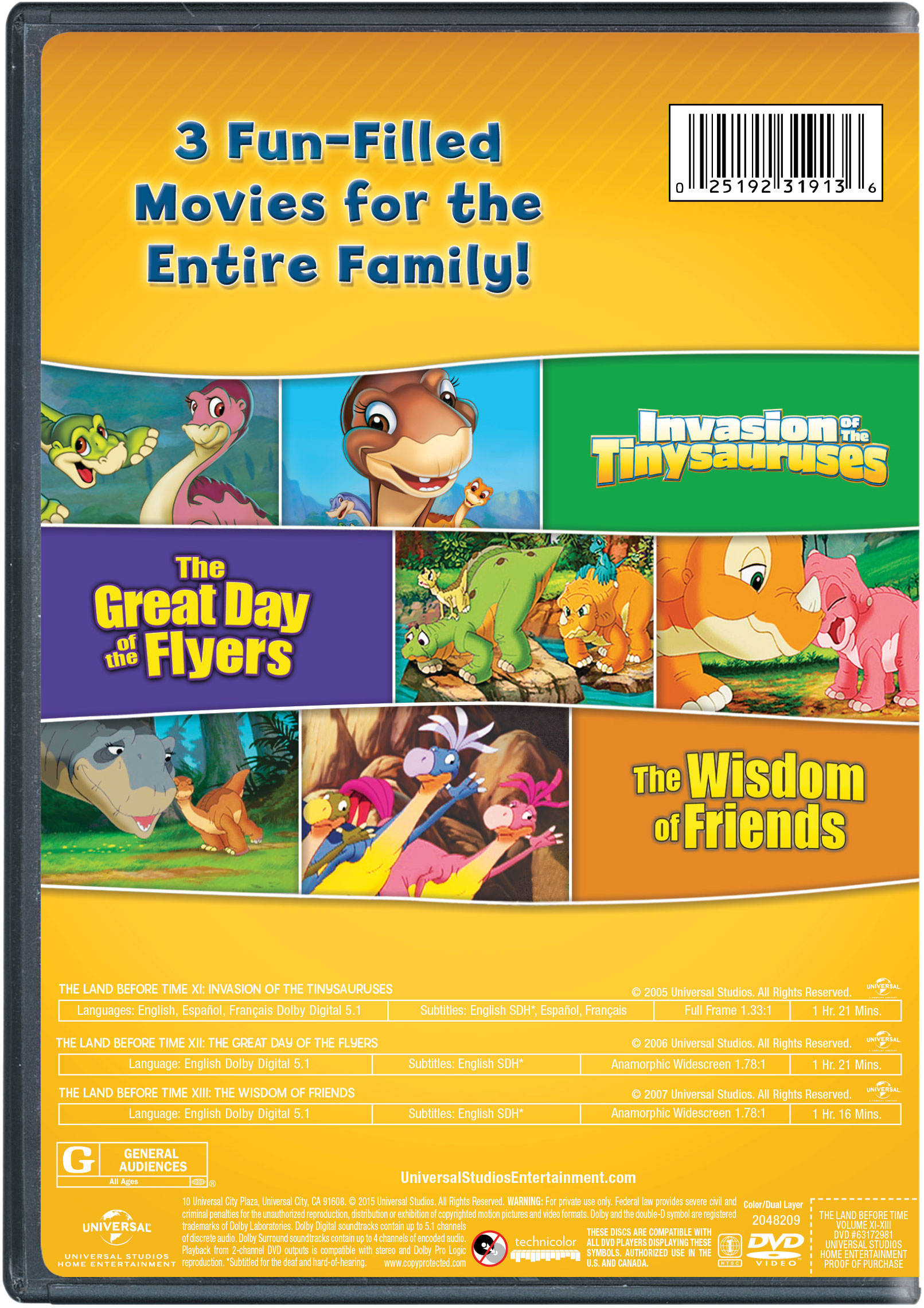 the land before time xi xiii 3 movie family fun pack invasion of