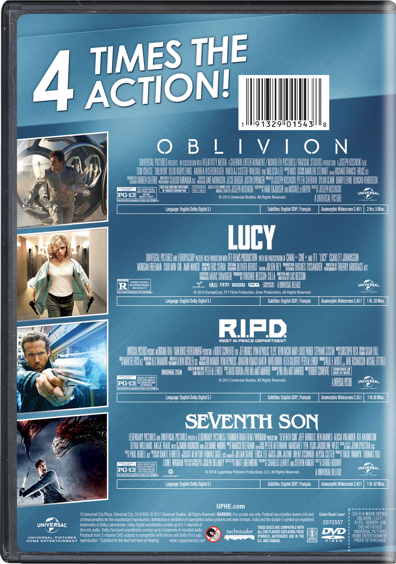 Sci-Fi 4-Movie Series (Oblivion / Lucy / R.I.P.D. / Seventh Son
