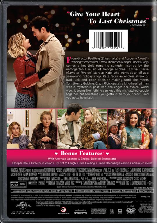 Last Christmas   Movie Page   DVD, Blu-ray, Digital, On Demand, Trailers, Downloads   Universal ...